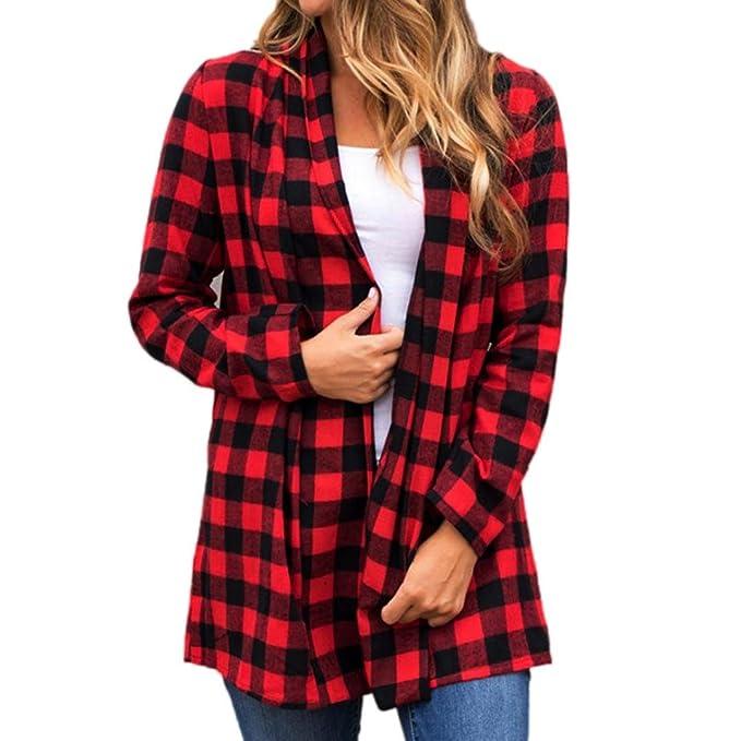 Siswong Cuadros Blusa Clásica con Doble Botonadura De Manga Larga Camisa Casual (Rojo, L