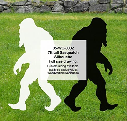 WoodworkersWorkshop Woodworking Plan to Make Your Own Bigfoot Sasquatch (Sasquit) 7ft tall Yard Art featuring FREE TRACING PAPER