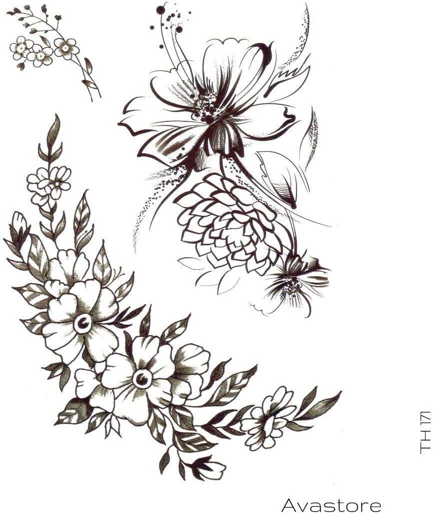 Avastore - Tatuaje temporal con flor de loto y peonía, diseño de ...