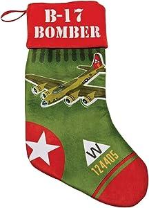 Limited Edition B-17 Bomber Plush Velvet 19 Inches Long Christmas Holiday Stocking