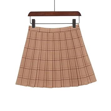 HEHEAB Falda,Brown Dulce Falda Plisada Mujer Plaid Moda Una Línea ...