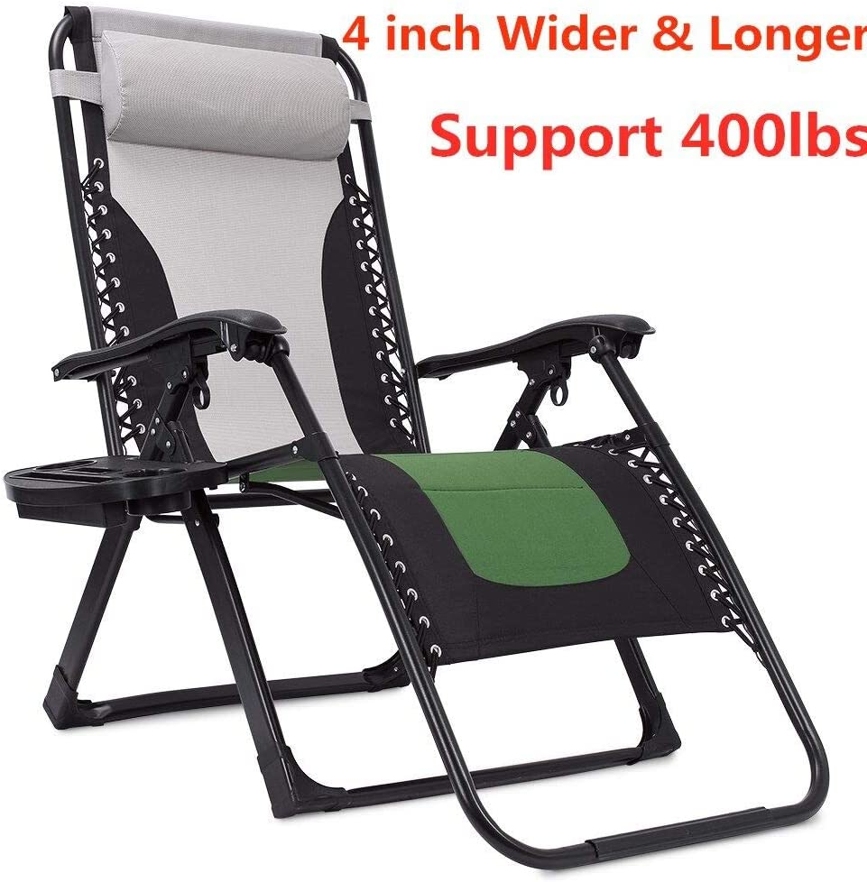 Support 400lbs Padded Zero Gravity Chair Oversized, 4 inch Wider and Longer Extra Wide Lounger Chair Recliner with Cup Holder and Headrest Green Grey