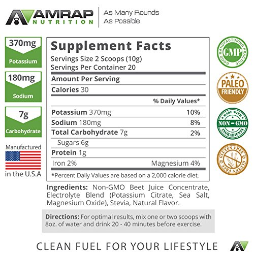 AMRAP Nutrition - Pure Beet Juice Powder - All-Natural & Organic- Optimal Nitric Oxide Support for Increased Endurance - With Electrolytes - More Endurance and Faster Recovery