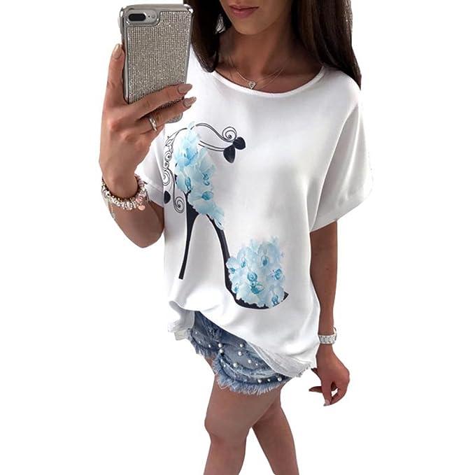 Hibote Mujer Camiseta Bat Sleeves Camisas Mujeres Camisa Tops con Estampado de Flores Tacones Altos Blusa