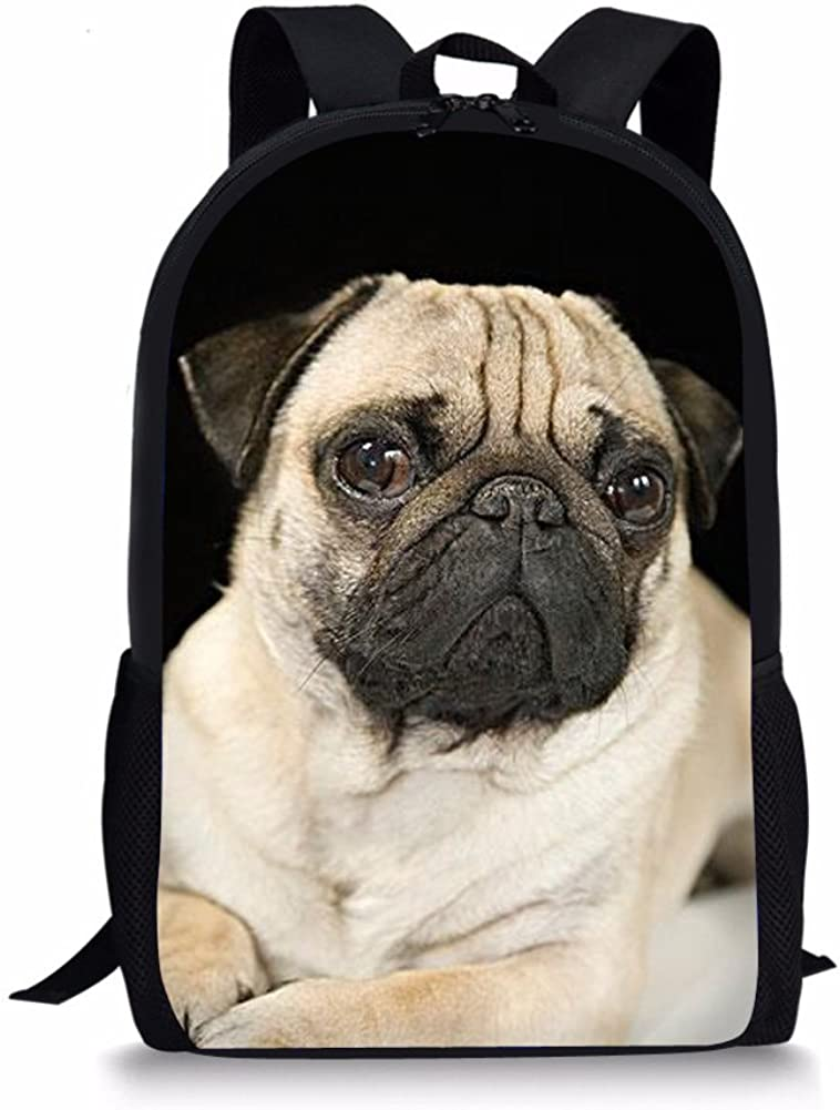 Boys Girls Teens Children Cute Pug Printed Lunch Bag Kids Pencil Case Backpack Set