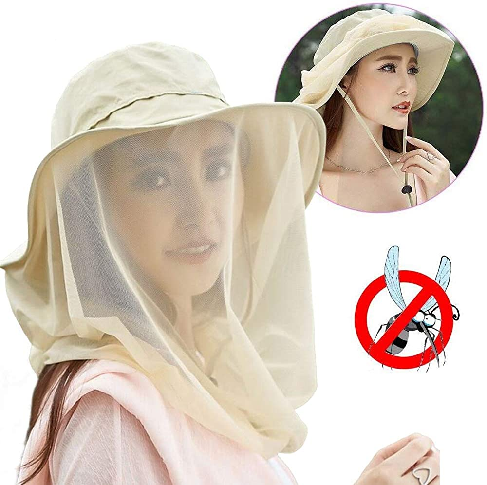 Insect Repellent Hat, Safari Boonie Hat with Hidden Mosquito Netting, Wide Brimmed Sun Hat for Men Women, UPF 50 Mosquito Head Net Hat, Outdoor Mesh Protection Hat for Hiking Camping Fishing