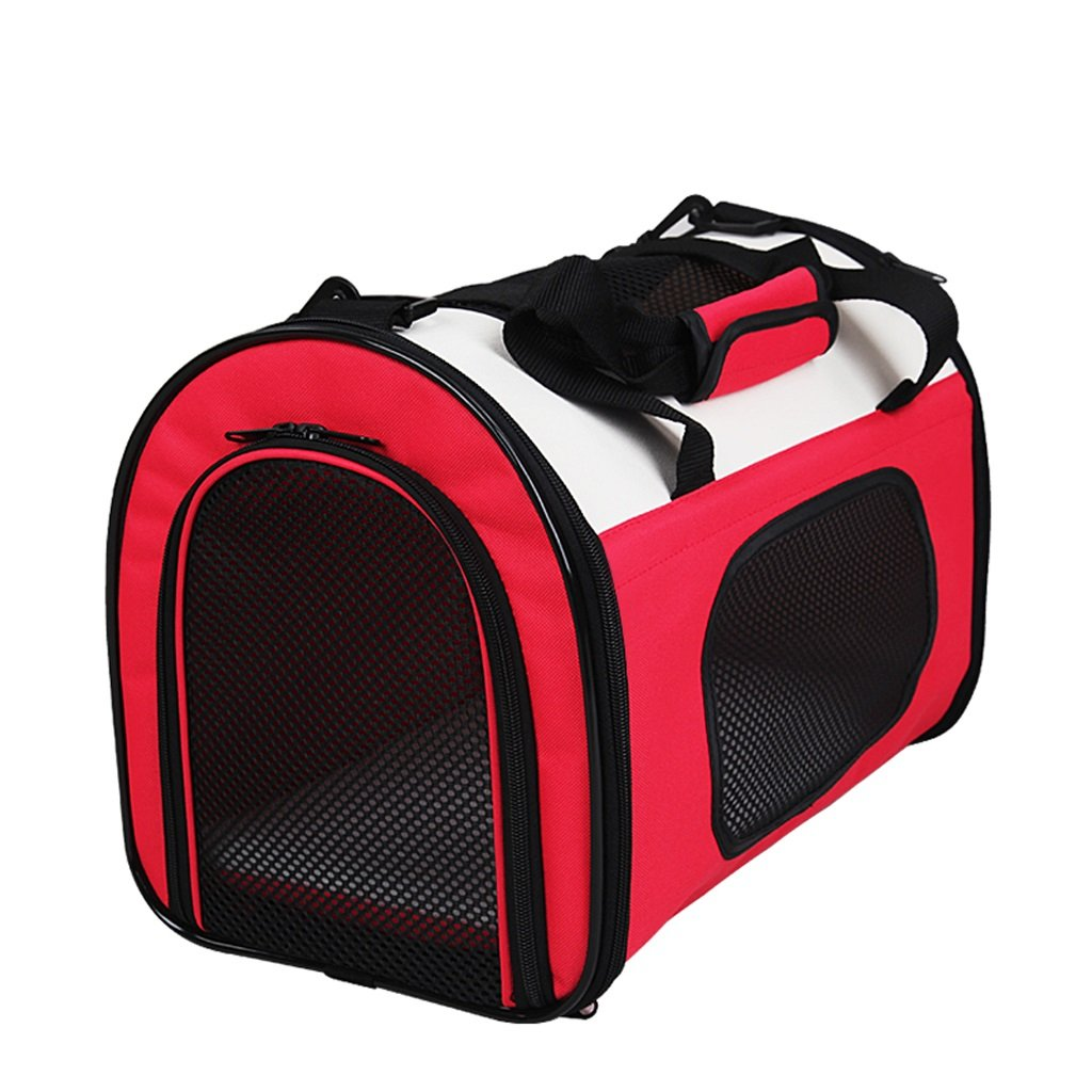 Red 503033cm Red 503033cm Outdoor Portable Small Pet Backpack Oxford Cloth Mesh Breathable Car Pet Cat Bag Can Be Folded (color   Red, Size   50  30  33cm)
