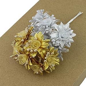 Artificial Flower Roses Wedding Decoration Decorative Festive Decoration Home Decorative Spray Gold Powder Bouquet 30PCS 4CM 84