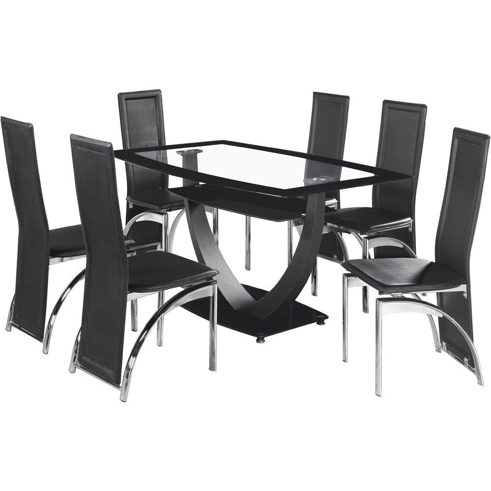 Seconique Henley 6 Seater Glass Dining Set, Black PVC Chairs: Amazon.co.uk:  Kitchen U0026 Home Part 72