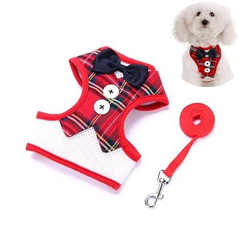 ZHXIN Conjunto de arnés para perro, diseño de cuadros rojos ...