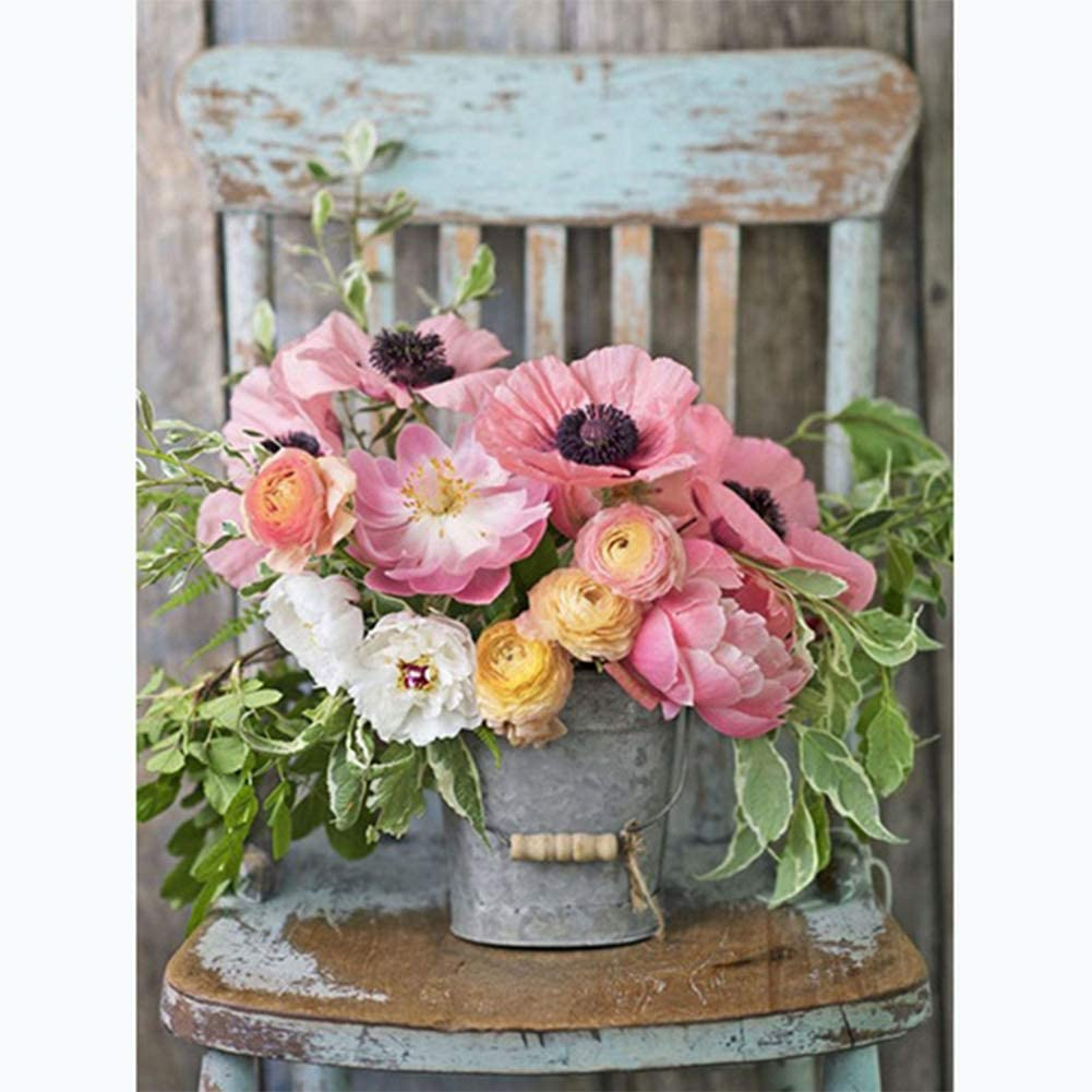 BW#A 5D DIY Full Drill Diamond Painting Flower Vase Cross Stitch Embroidery Kit