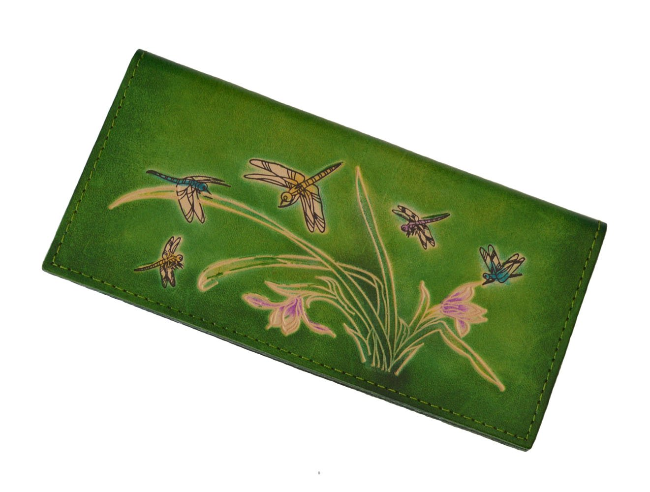 Genuine Leather Checkbook Cover, Dragonflies & Iris Flower Pattern, More Color. (Green) by BPLeathercraft