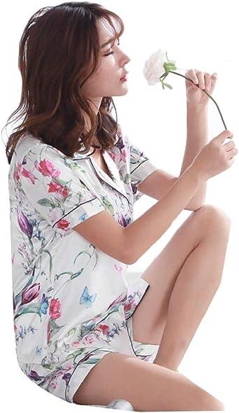 Mujer Conjunto De Pijama Floreadas Moda Pijamas Mujer Elastische Taille Un Solo Pecho Manga Corta De Solapa Ropa De Noche Camisas Ropa: Amazon.es: Ropa y accesorios