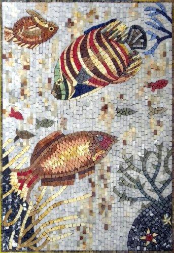 Various Fish Hand Made Marble Mosaic Decorative Wall Floor Bath Pool