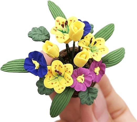 7Pcs 1:12 miniature resin landscape flower pot dollhouse garden for kids toy LE