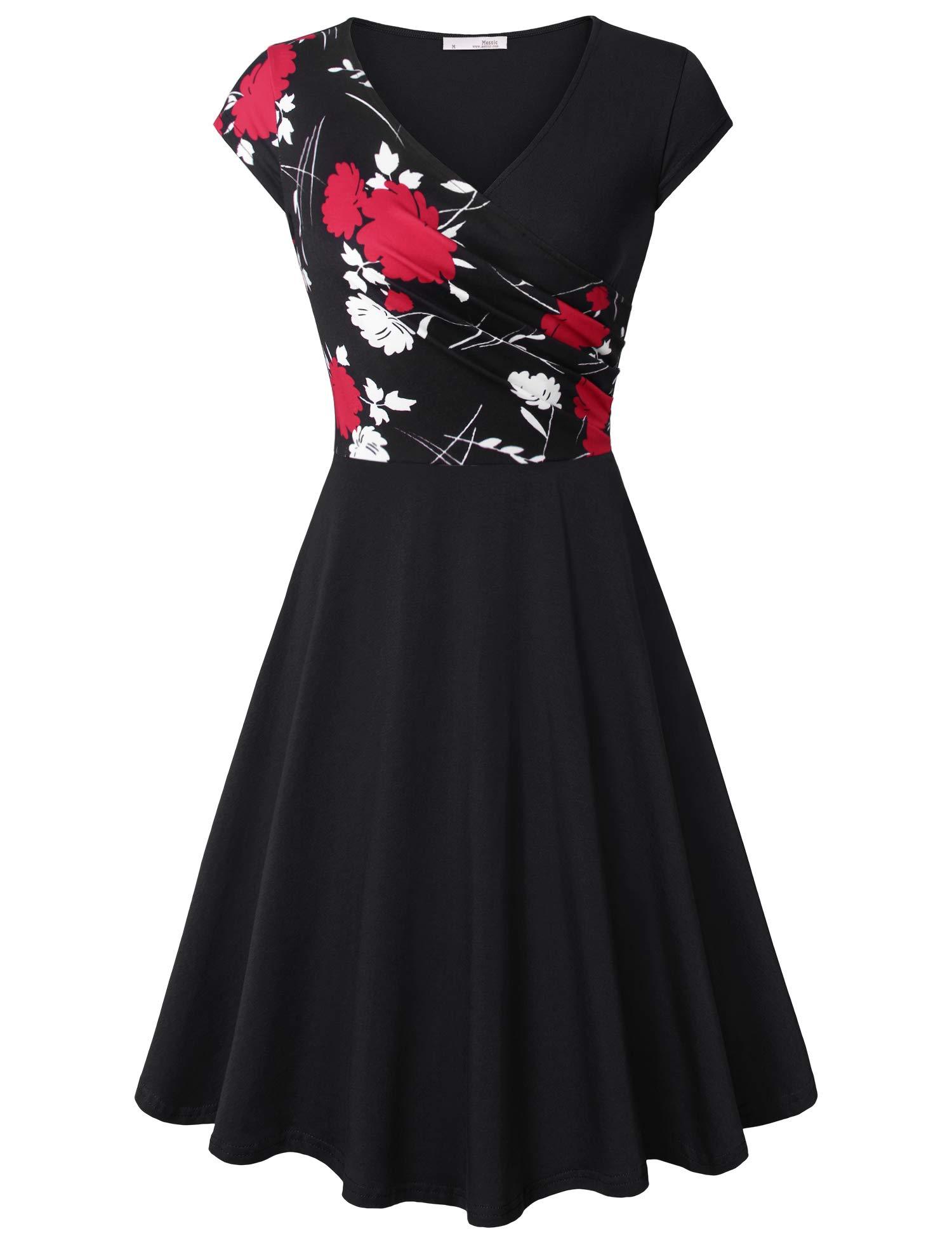 Messic Direct Tea Dress for Womens Women's Cross V Neck Dresses Cap Sleeve Elegant Flared A Line Dress Black Red XX-Large