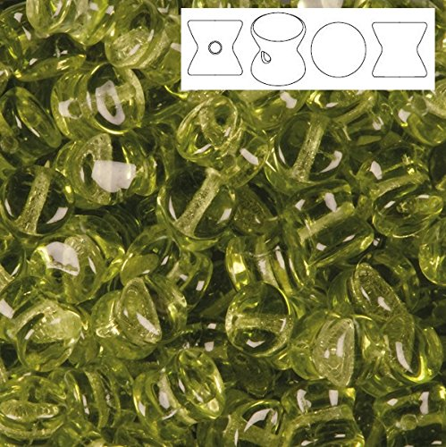 Preciosa Pallet Czech Glass Beads Translucent Olive Green 6x4mm Package of ()