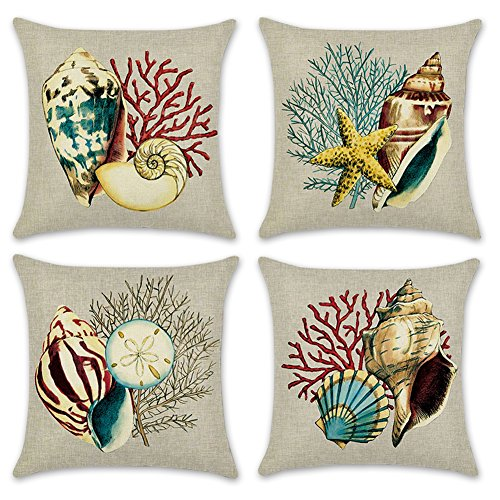 Throw Pillow Covers Decorative Pillowcases 18x18inch (4 pieces set) Pillow Cases Home Car Decorative (Sea Shell)