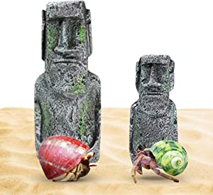 2 Hermit Crab Moai Decor Pieces --- Pair of Easter Island Statues - Detailed Resin Replicas for Crawlers - Great Decorations for Luau OR Tropical-Themed Party - for Aquariums, Terrariums & Crabitats