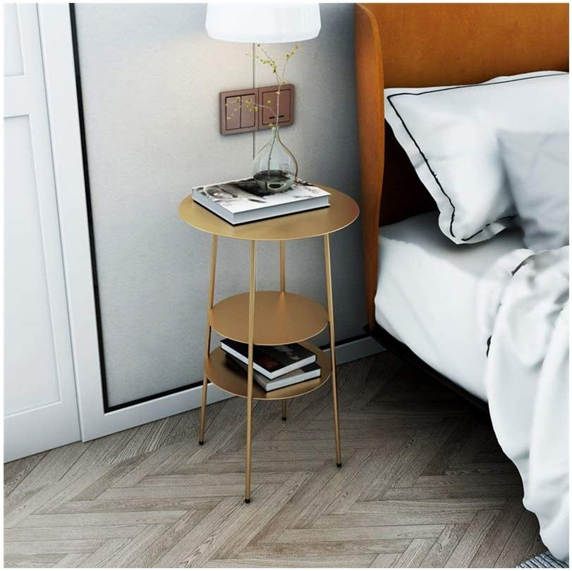 De Goedkoopste Huishoudelijke Storage Display Rack Table Industriële Stijl Sofa Table End Table Metal Ronde Side Zwart, 40X40X62CM 4.11 (Color : Gold) Gold h0AYNue