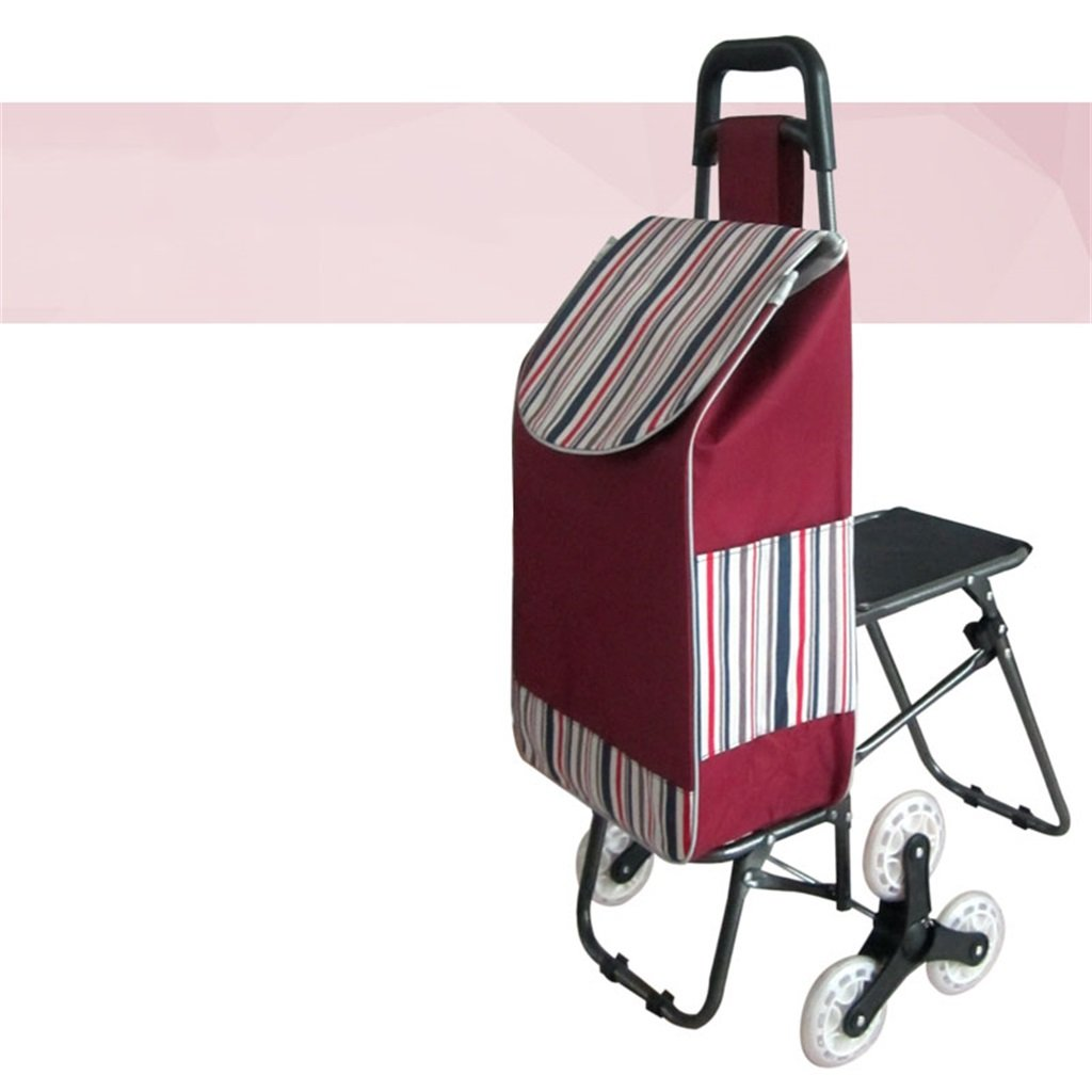 ショッピング旅行ハンドトラック階段を登る椅子で折り畳むショッピングカート老人ショッピングカートレバーカートロリー 丈夫で持ち運びやすい (色 : 4)  4 B07FBD48FY