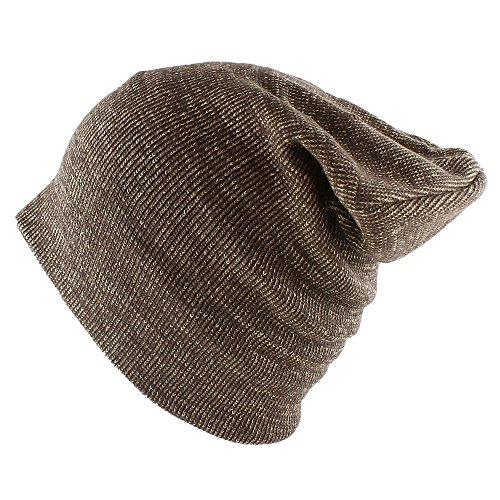 Stretch Beanie Cotton (Morehats Cotton Soft Stretch Knit Slouchy Beanie Hip-hop Casual Daily Year Round Hat (One Size, Two Tone Brown))