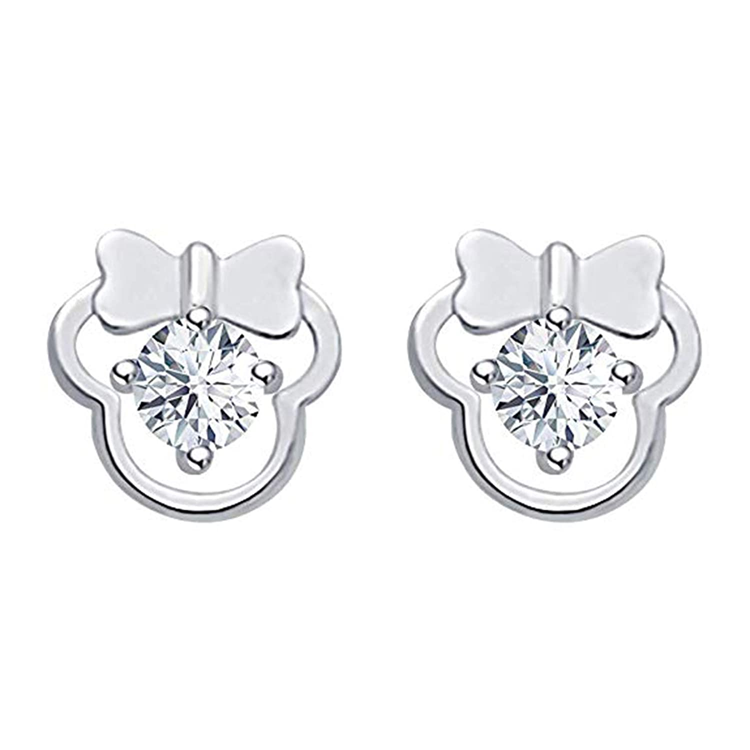 Suhana Jewellery Disney Mickey Earrings Collection 14K Gold Fn Round CZ Gift for Girls Womens