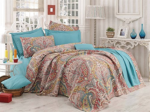 LaModaHome Luxury Soft Colored Bedroom Bedding 100% Cotton Single Coverlet (Pique) Thin Coverlet Summer/Mixed Motif Leaf Design Shape Form Brown and Blue/Single Gemeos - Green Green Beige Yellow Red