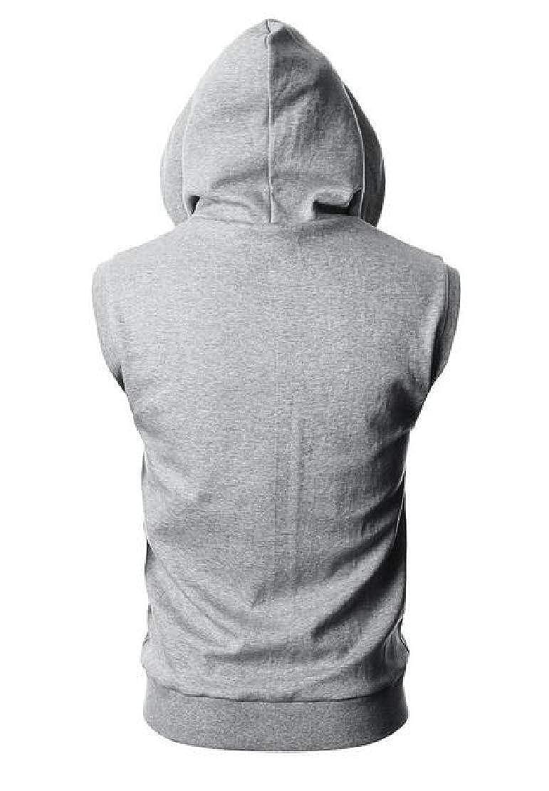 Jotebriyo Mens Zip Front T-Shirts Slim Fit Sleeveless Hooded Casual Tank Tops