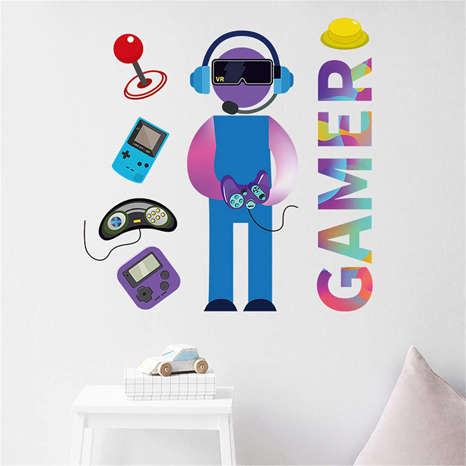 Game Wall Decals Colorful Gamer Creative Controller Wall Posters Video Game Boys Kids Home Room Playroom Bedroom Decor Wall Mural Stickers