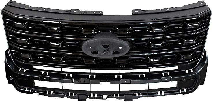 Matte Black Front Grill Grille with Amber Lights and Letters Fits for Ford Explorer 2012-2015