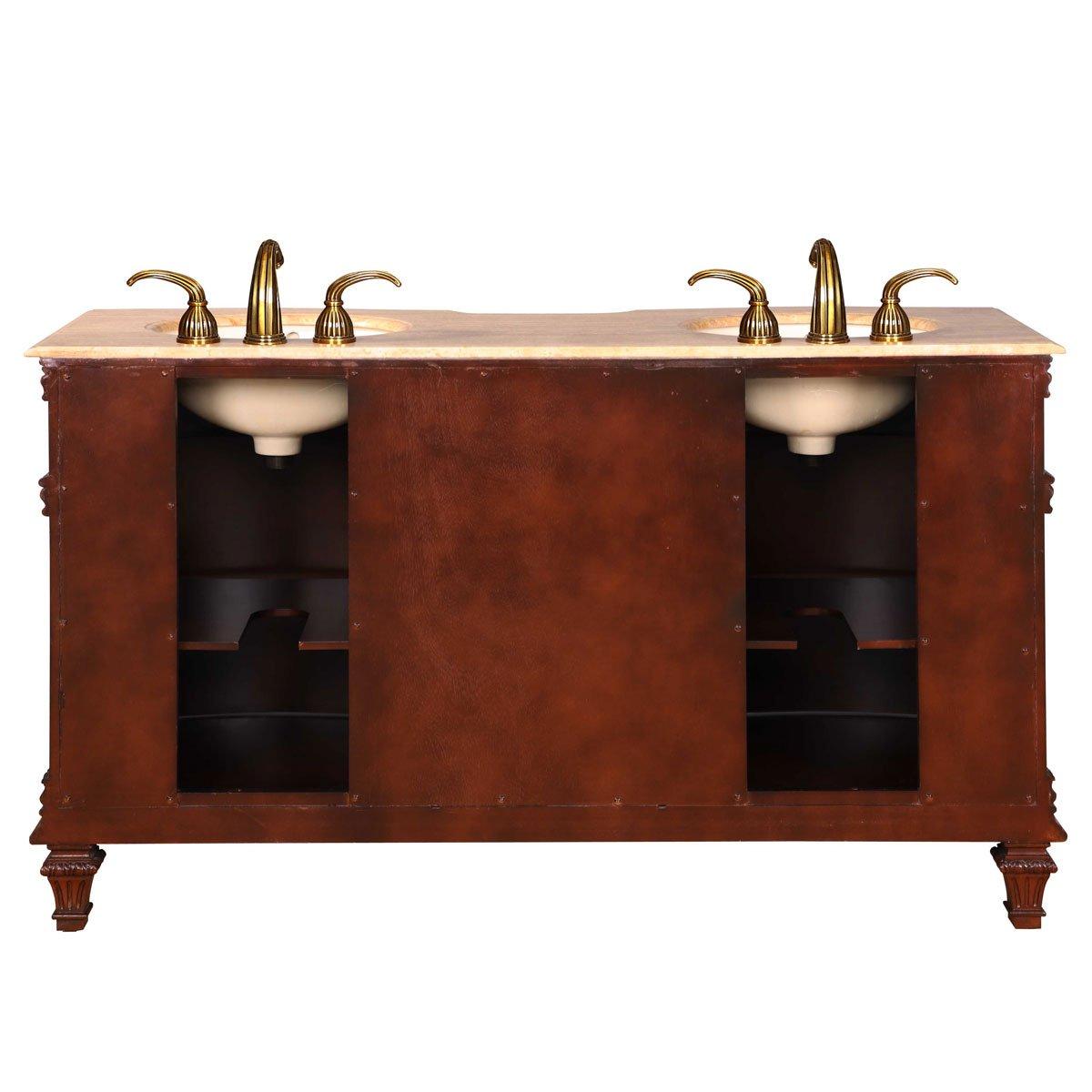 Amazon.com: Silkroad Exclusive Travertine Stone Top Double Sink Bathroom  Vanity With Cabinet, 60 Inch: Home U0026 Kitchen