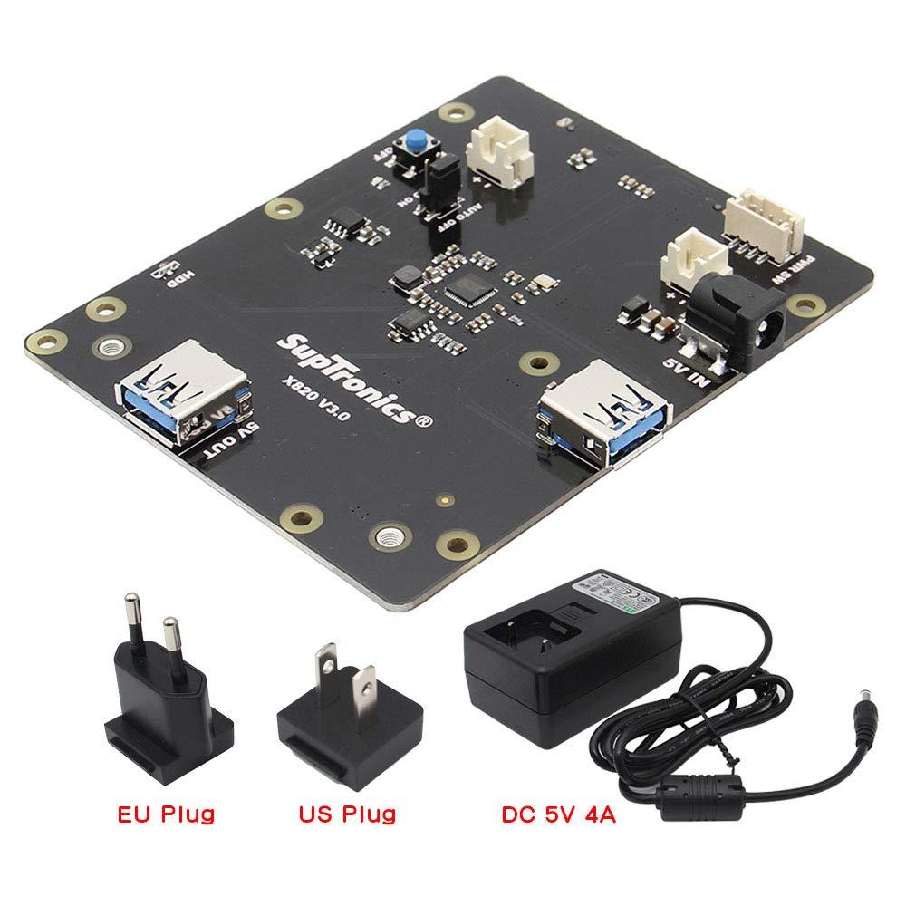 Geekworm X820 V3.0 2.5 inch SATA HDD/SSD Storage Expansion Board w/USB 3.0 Interface + DC 5V 4A Power Adapter w/EU/US Plug Kit for Raspberry Pi 3 Model B+ / 3B / 2B / B+