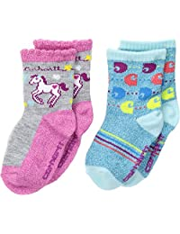 Carhartt Toddler Girl's 2 Pack Infant-Toddler Crew Socks With Grippers