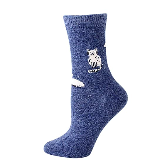 FAMILIZO Calcetines Mujeres Sólido Color Lindo Fuzzy Calcetines Cartoon Animal Calcetines Invierno Caliente Gato Calcetines Tobilleros Antideslizantes: ...