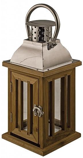Wood U0026 Chrome Lantern Candle Holder ~ Garden Or Indoor ~ Height 36cm