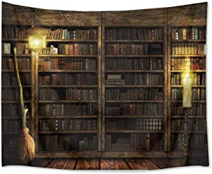 HVEST Magical Castle Tapestry Books on Bookshelf with Witch's Broom Wall Hanging Vintage Library Tapestries for Bedroom Living Room Dorm Decor,80Wx60H inches