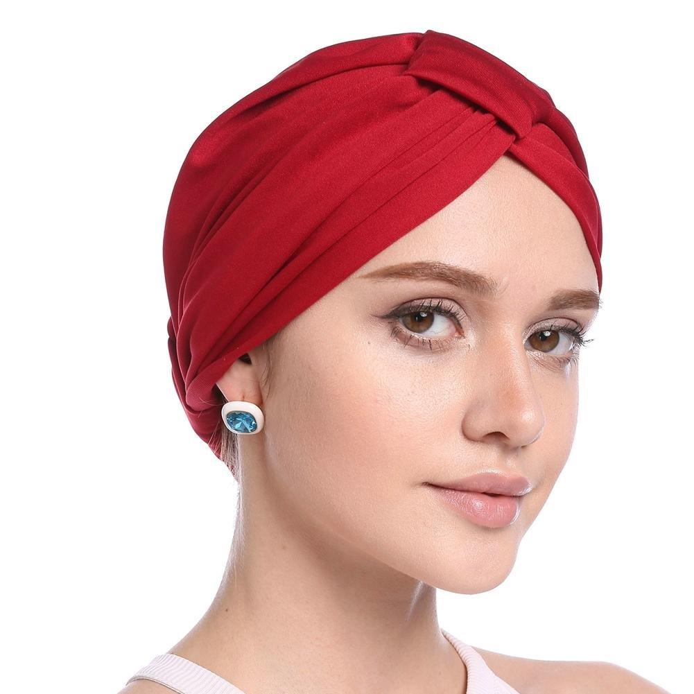 Forestwood turbante cappello da donna, colore solido semplice modal foulard berretto perdita di capelli Chemioterapia Krebs, Grey