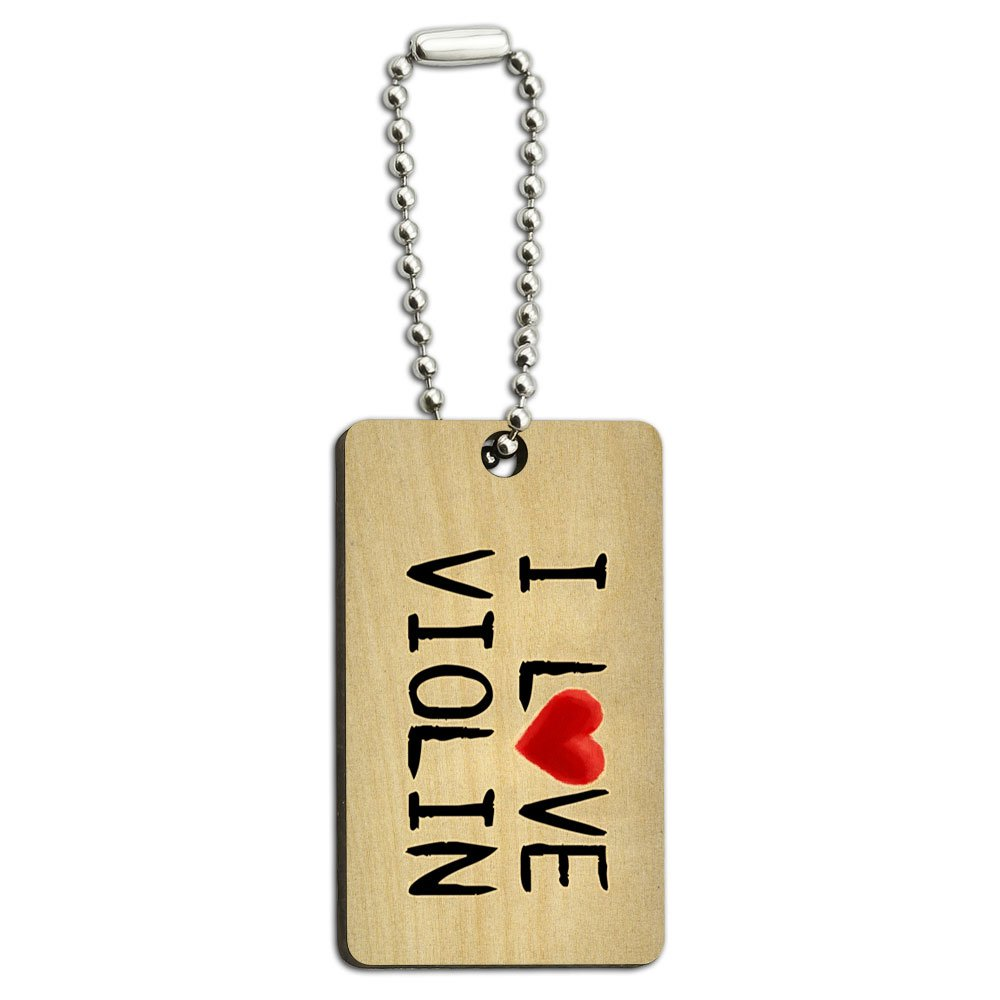 I Love Violin Written on Paper Wood Wooden Rectangle Key Chain
