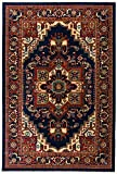 Antep Rugs Oriental Wave Collection Tabriz Design Polypropylene Area Rug (Navy and Ivory, 4'1″ x 6′)