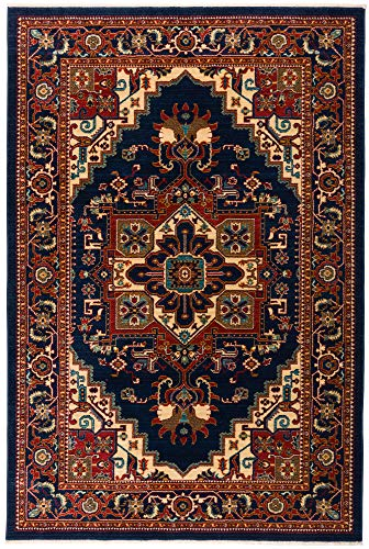 Tabriz Oriental Area Rugs - Antep Rugs Oriental Wave Collection Tabriz Design Polypropylene Area Rug (Navy and Ivory, 4'1