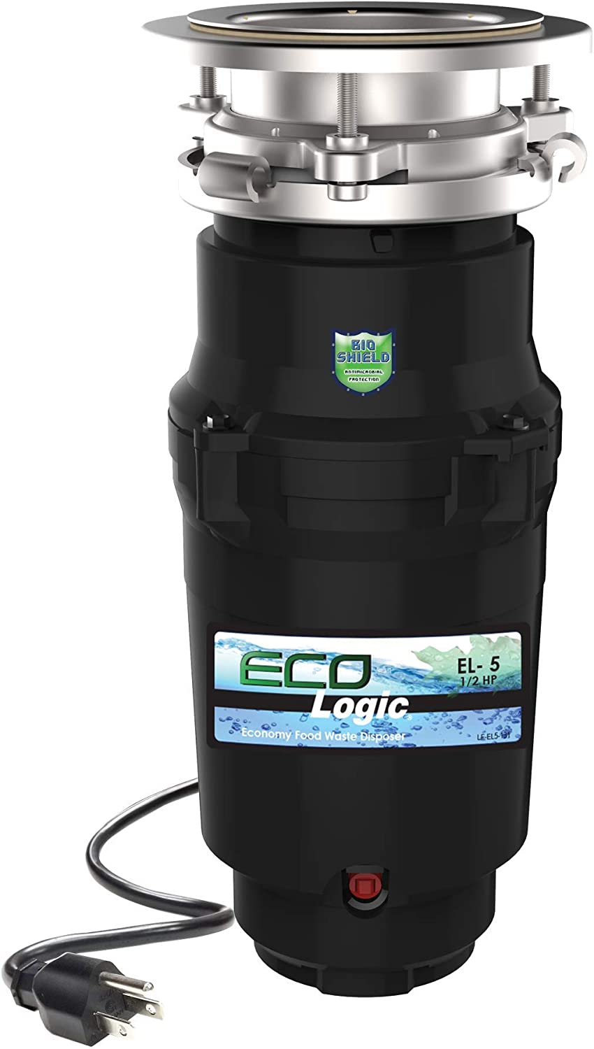 Eco Logic 10-US-EL-5-3B 1/2 Horsepower Garbage Removable Splash Guard Attached Power Cord and Standard 3-Bolt Mounting System, Continuous Feed Disposer, Black