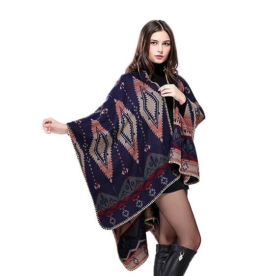 Amazon.com: Peacoco Women\'s Oversized Knitted Winter Tartan Blanket ...