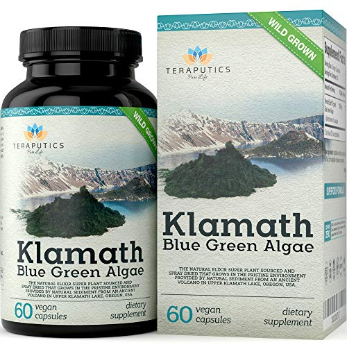 - Premium Klamath Blue Green Algae - More Powerful Than Spirulina and Chlorella Supplements | Pure Chlorophyll Rich SuperFood, Sourced from Organic Klamath Lake, 500mg, 60 Vegan Capsules