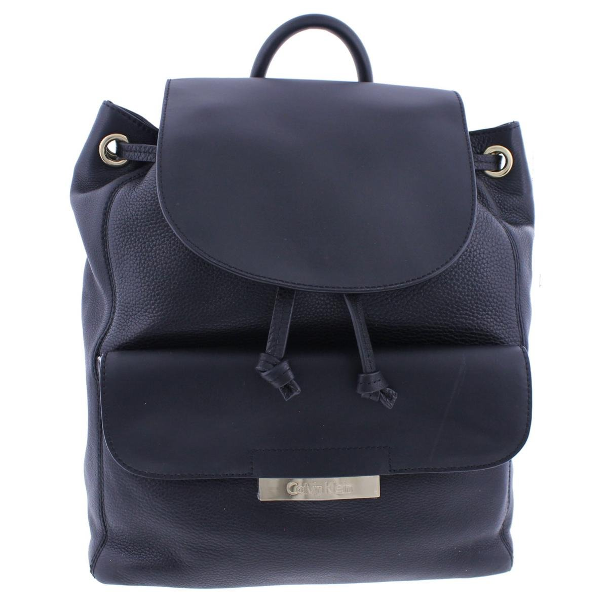 Calvin Klein Rowan Pebble Back pack, Black/Gold, One Size