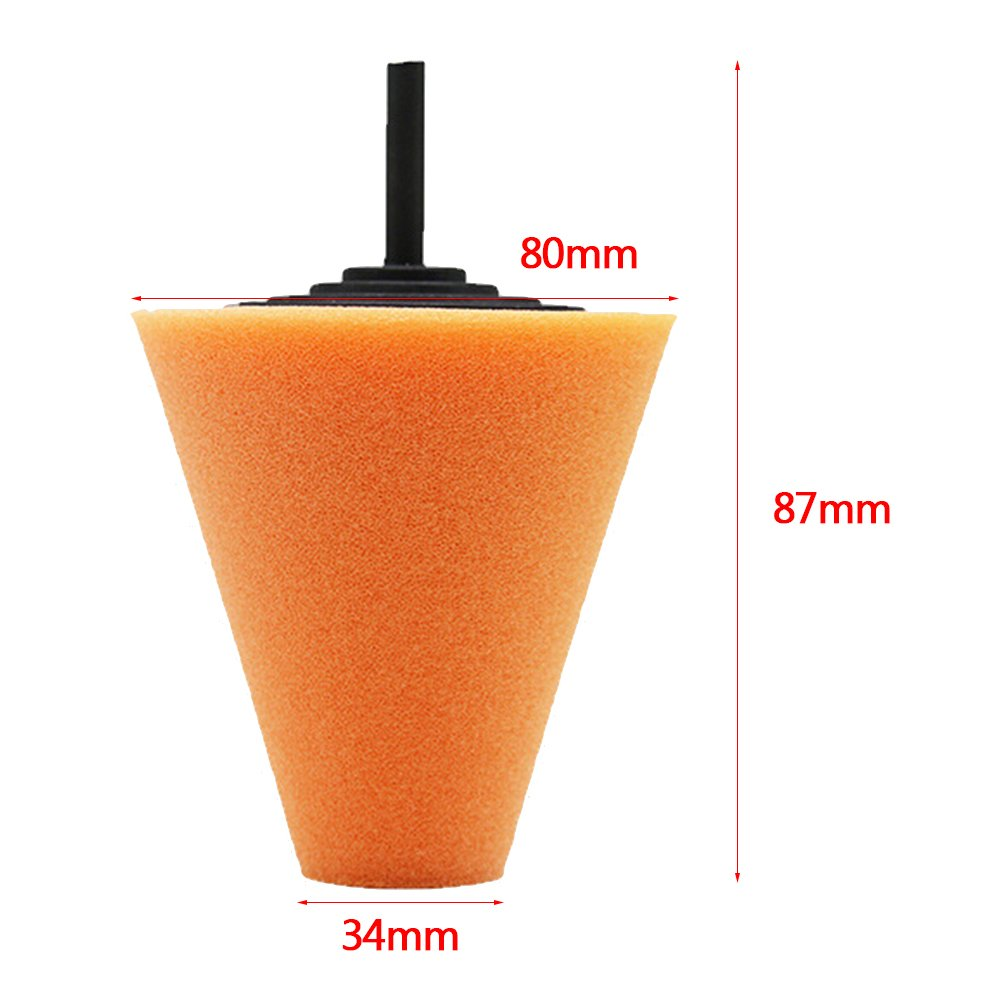 Beatie 1 pcs Haute Qualit/é Mousse Poli /Éponge C/ône pour Plaque De Polissage De Polisseuse De Roue De Voiture Orange