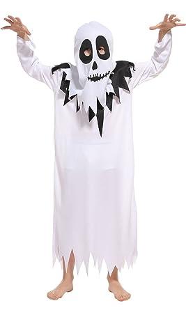 licus kids scary white ghost halloween costumes boys girls cosplay dress up robe medium