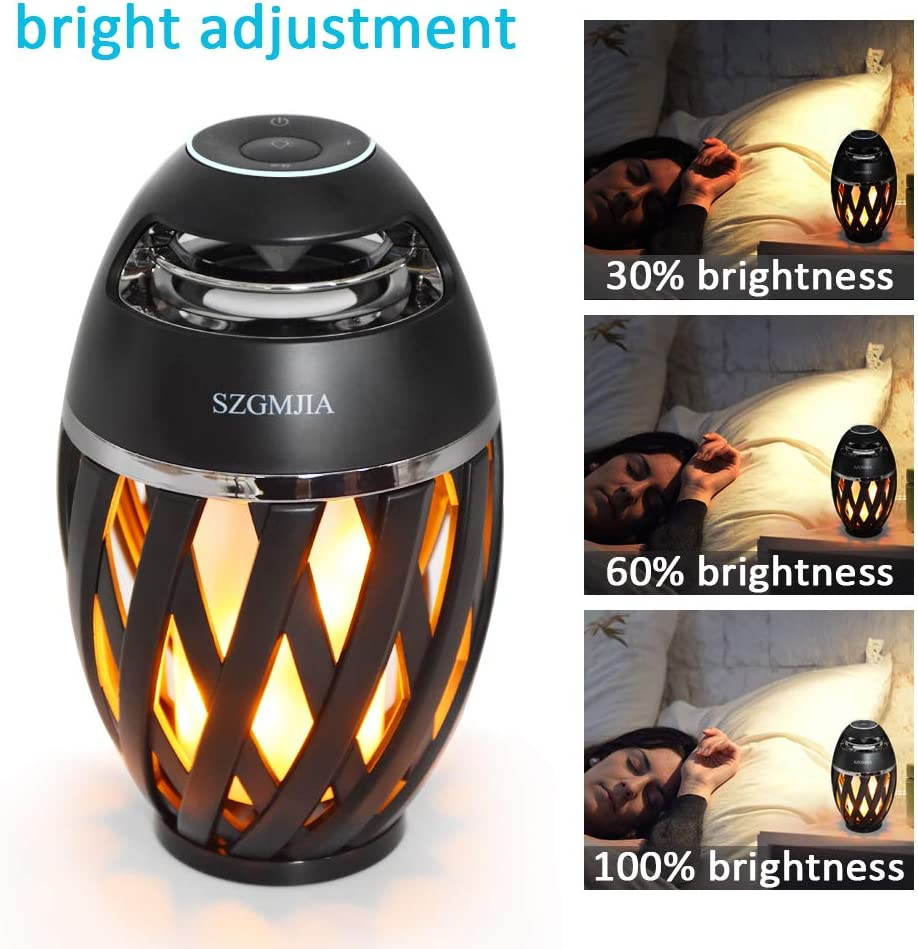 LED Flickers Romantic Atmosphere for Indoor//Outdoor Portable Stereo Speaker BT4.2 with HD Audio and Enhanced Bass 2 Pack Led Flame Speakers with Retractable Bracket Kits