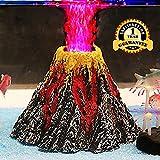 Aquarium Decorations, Air Stone Bubbler Volcano Shape Ornament Kit Set with Red LED Spotlight for Decorate Aquarium Fish Tank