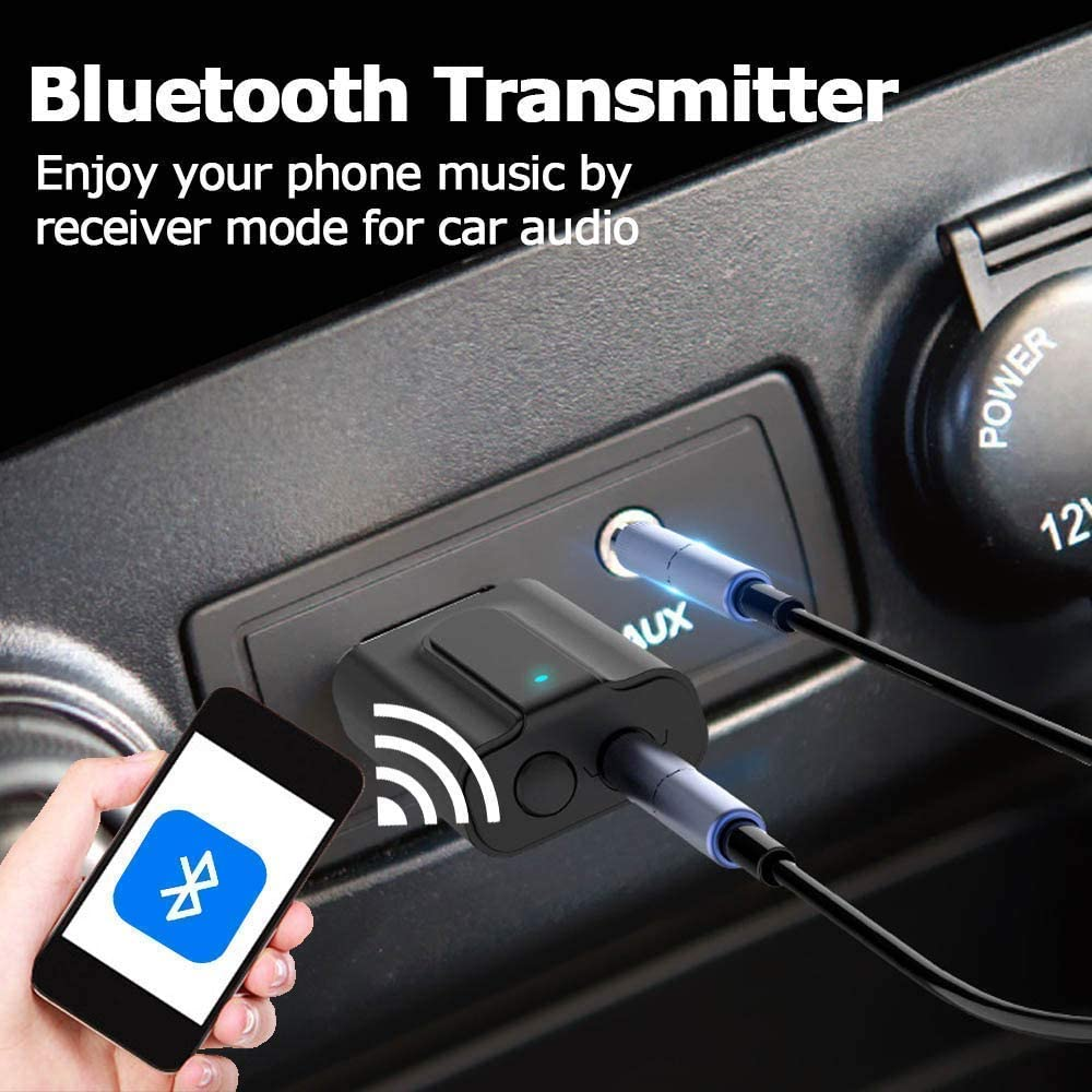 2-in-1 Wireless 3.5mm Audio Adapter IMustech Bluetooth 5.0 Transmitter Receiver for TV PC Portable AptX Low Latency AUX Adapter for Home Sound Stereo System Headphones//Speakers USB Power Supply